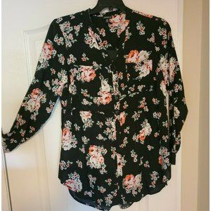 Torrid Button Down Babydoll Long Sleeve Floral Top